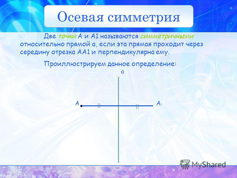 А1А1 А a Две точки А и А1 называются симметричными относительно прямой а, если эта прямая проходит через середину отрезка АА1 и перпендикулярна ему. Проиллюстрируем данное определение: Осевая симметрия