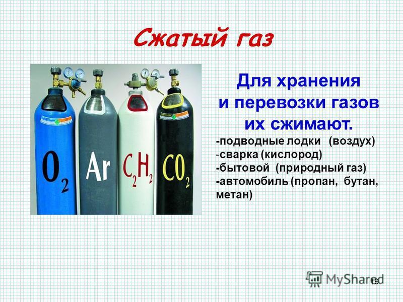19 Сжатый газ Для хранения и перевозки газов их сжимают. -подводные лодки (воздух) -сварка (кислород) -бытовой (природный газ) -автомобиль (пропан, бутан, метан)