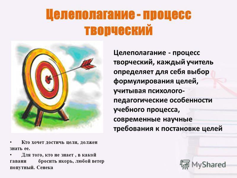 Целеполагание - процесс творческий Кто хочет достичь цели, должен знать ее. Для того, кто не знает, в какой гавани бросить якорь, любой ветер попутный. Сенека Целеполагание - процесс творческий, каждый учитель определяет для себя выбор формулирования