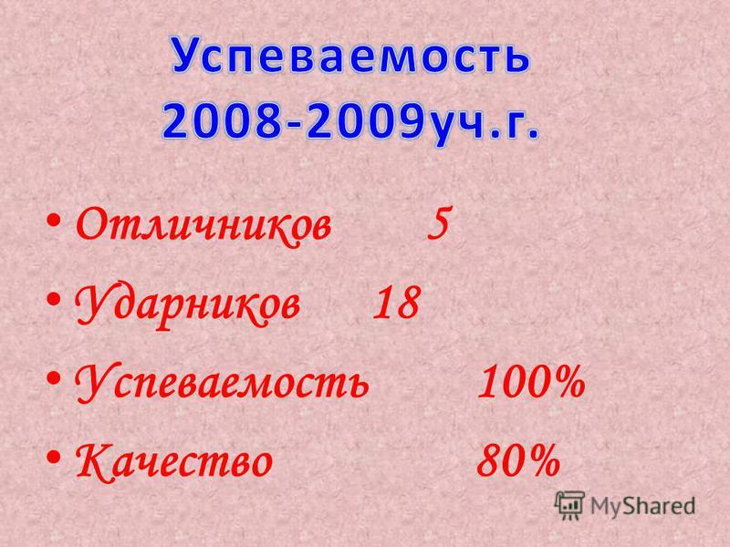 Отличников 5 Ударников 18 Успеваемость 100% Качество 80%
