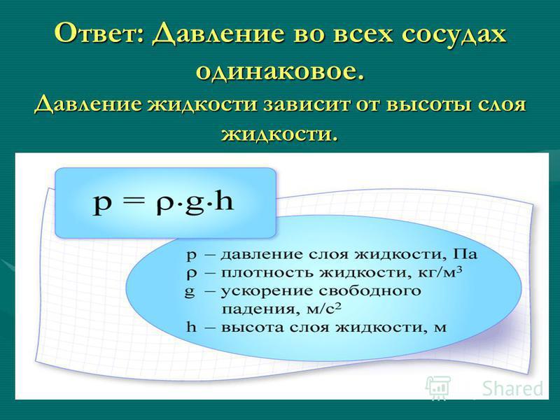 Ответ: Давление во всех сосудах одинаковое. Давление жидкости зависит от высоты слоя жидкости.