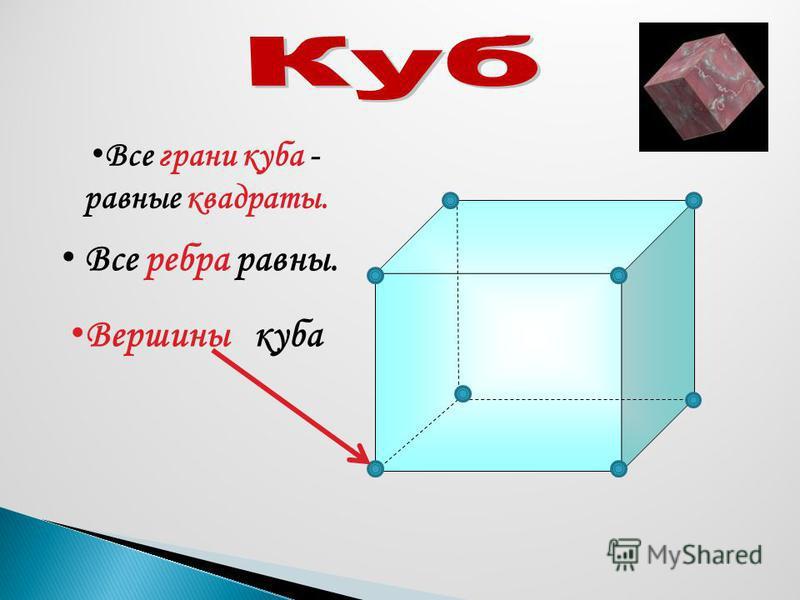 Все грани куба - равные квадраты. Все ребра равны. Вершины куба