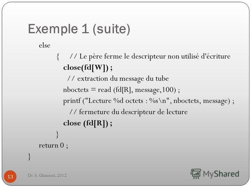 Exemple 1 (suite) Dr. S. Ghanemi, 2012 13 else { // Le père ferme le descripteur non utilisé d'écriture close(fd[W]) ; // extraction du message du tube nboctets = read (fd[R], message,100) ; printf (