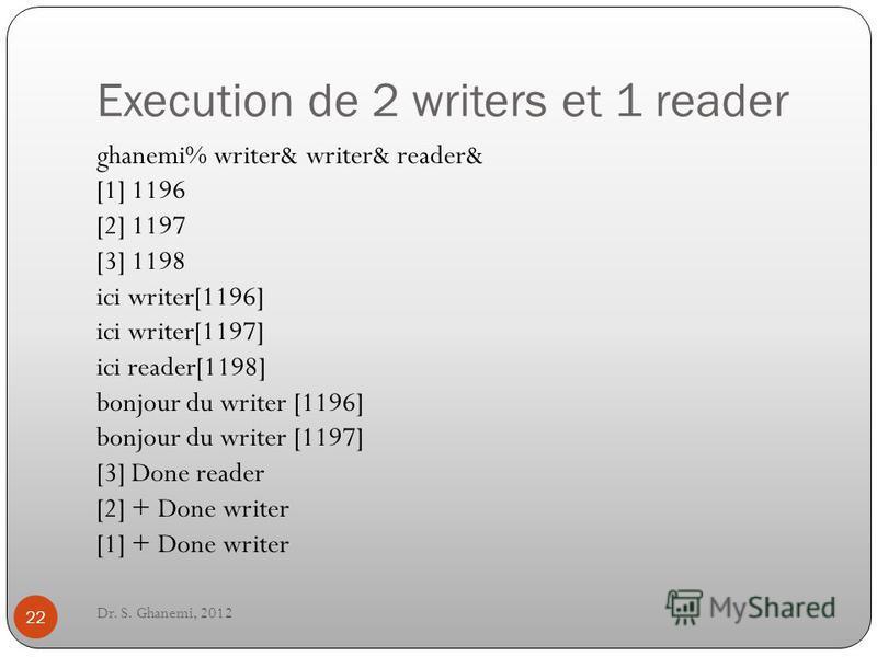 Execution de 2 writers et 1 reader Dr. S. Ghanemi, 2012 22 ghanemi% writer& writer& reader& [1] 1196 [2] 1197 [3] 1198 ici writer[1196] ici writer[1197] ici reader[1198] bonjour du writer [1196] bonjour du writer [1197] [3] Done reader [2] + Done wri