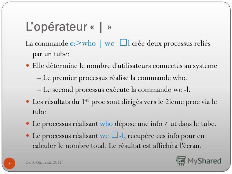 Lopérateur « | » Dr. S. Ghanemi, 2012 7 La commande c:>who | wc -–l crée deux processus reliés par un tube: Elle détermine le nombre d'utilisateurs connectés au système – Le premier processus réalise la commande who. – Le second processus exécute la