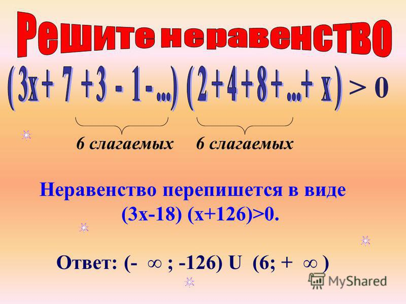 Неравенство перепишется в виде (3 х-18) (х+126)>0. Ответ: (- ; -126) U (6; + ) 6 слагаемых > 0 6 слагаемых