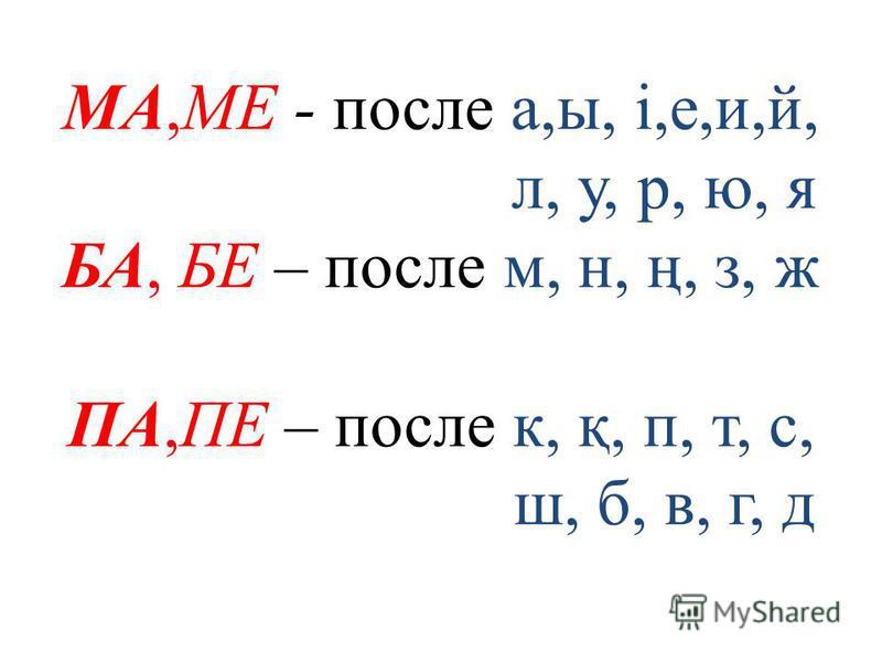 МА,МЕ - после а,ы, і,е,и,й, л, у, р, ю, я БА, БЕ – после м, н, ң, з, ж ПА,ПЕ – после к, қ, п, т, с, ш, б, в, г, д