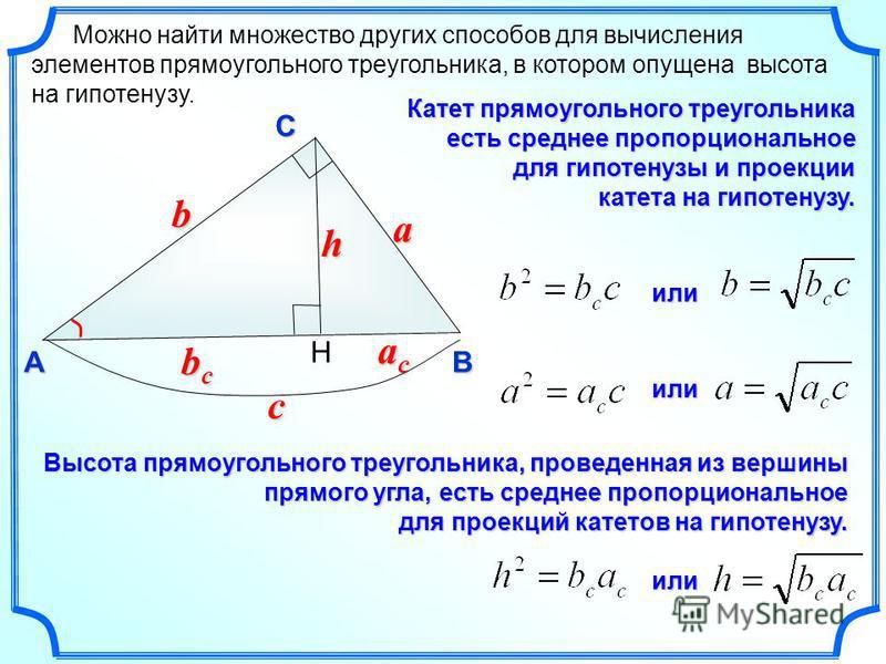 Можно найти множество других способов для вычисления элементов прямоугольного треугольника, в котором опущена высота на гипотенузу. C AB H c b a h bcbcbcbc acacacac Катет прямоугольного треугольника есть среднее пропорциональное для гипотенузы и прое