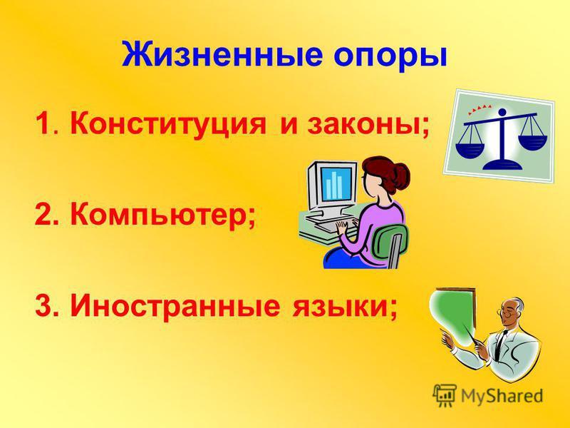 Жизненные опоры 1. Конституция и законы; 2. Компьютер; 3. Иностранные языки;