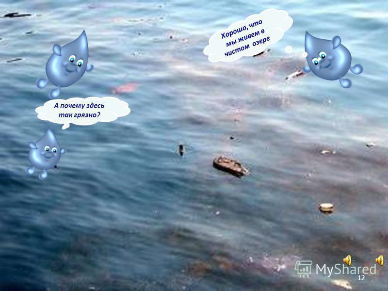 А почему здесь так грязно? Хорошо, что мы живем в чистом озере. 12