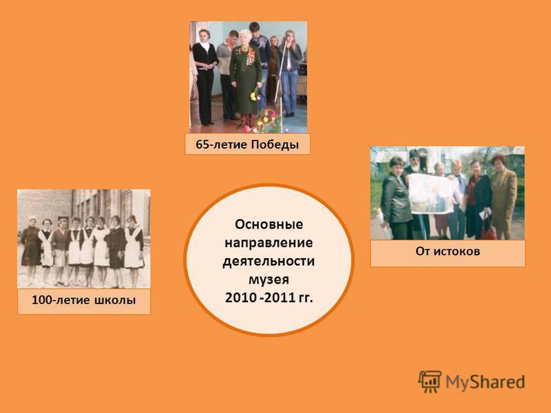 Основные направление деятельности музея 2010 -2011 гг. От истоков 100-летие школы 65-летие Победы