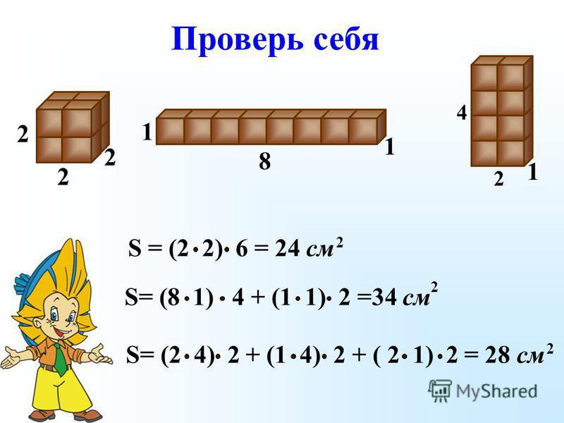 S = (2 2) 6 = 24 см 2 2 2 2 8 1 1 S= (2 4) 2 + (1 4) 2 + ( 2 1) 2 = 28 см 2 2 4 1 S= (8 1) 4 + (1 1) 2 =34 см 2 Проверь себя