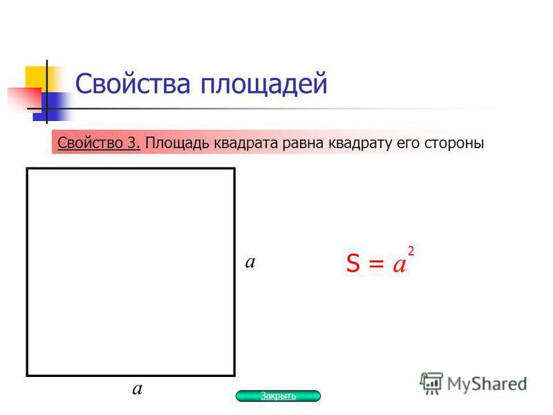 Свойства площадей Свойство 3. Площадь квадрата равна квадрату его стороны S = а 2 а а Закрыть