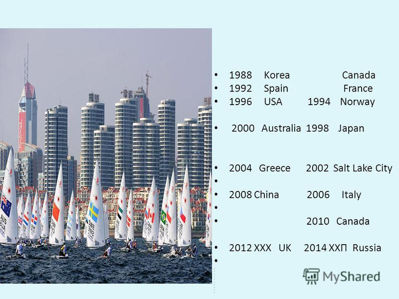 1988 Korea Canada 1992 Spain France 1996 USA 1994 Norway 2000 Australia 1998 Japan 2004 Greece 2002 Salt Lake City 2008 China 2006 Italy 2010 Canada 2012 XXX UK 2014 ХХП Russia