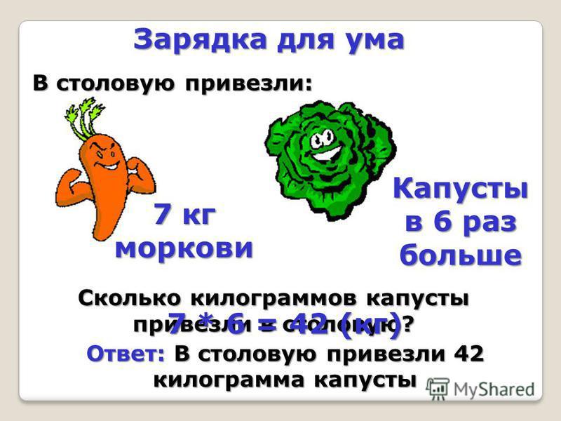 Зарядка для ума В столовую привезли: 7 кг моркови Капусты в 6 раз больше Сколько килограммов капусты привезли в столовую? 7 * 6 = 42 (кг) Ответ: В столовую привезли 42 килограмма капусты