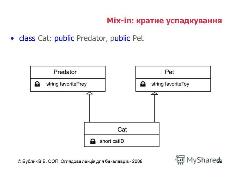 © Бублик В.В. ООП. Оглядова лекція для бакалаврів - 200829 Mix-in: кратне успадкування class Cat: public Predator, public Pet