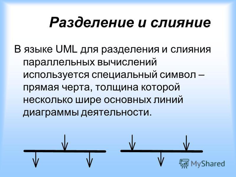 Разделение и слияние В языке UML для разделения и слияния параллельных вычислений используется специальный символ – прямая черта, толщина которой несколько шире основных линий диаграммы деятельности.