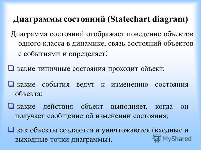 Диаграммы состояний (Statechart diagram) Диаграмма состояний отображает поведение объектов одного класса в динамике, связь состояний объектов с событиями и определяет : какие типичные состояния проходит объект; какие события ведут к изменению состоян