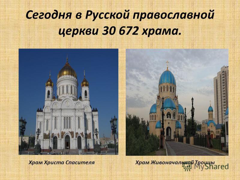 Сегодня в Русской православной церкви 30 672 храма. Храм Христа Спасителя Храм Живоначальной Троицы