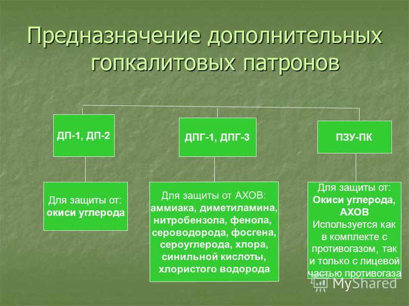 Предназначение дополнительных гопкалитовых патронов ДП-1, ДП-2 Для защиты от: окиси углерода ДПГ-1, ДПГ-3 Для защиты от АХОВ: аммиака, диметиламина, нитробензола, фенола, сероводорода, фосгена, сероуглерода, хлора, синильной кислоты, хлористого водор