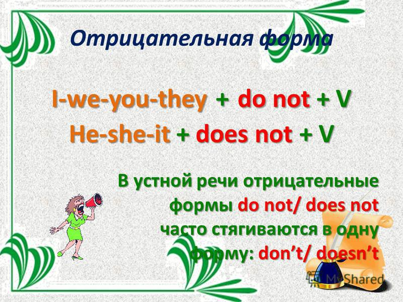 Отрицательная форма I-we-you-they + do not + V He-she-it + does not + V В устной речи отрицательные формы do not/ does not часто стягиваются в одну форму: dont/ doesnt