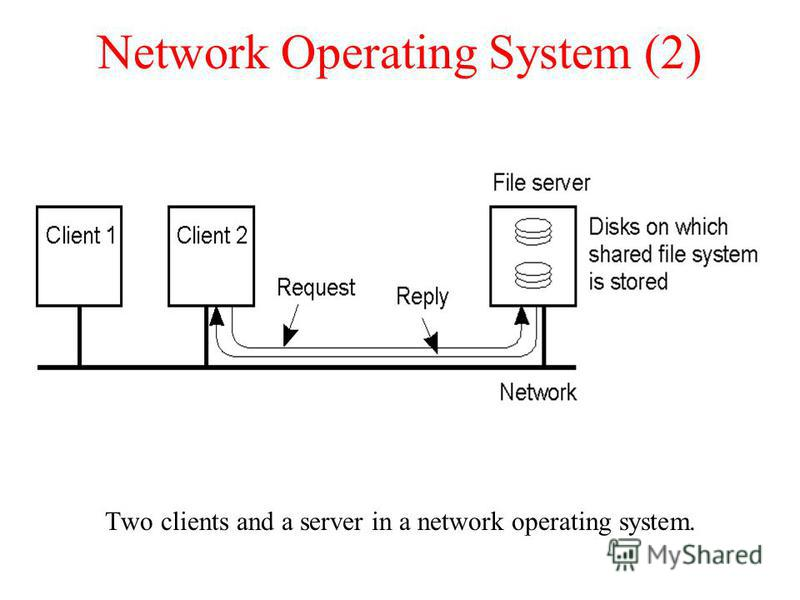 Network Operating System (2) Two clients and a server in a network operating system. 1-20