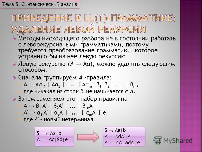 Методы нисходящего разбора не в состоянии работать с леворекурсивными грамматиками, поэтому требуется преобразование грамматики, которое устранило бы из нее левую рекурсию. Левую рекурсию (A Aα), можно удалить следующим способом. Сначала группируем A