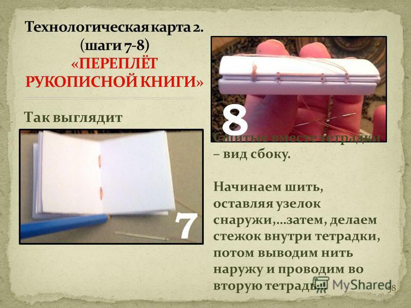 57 Сложив «тетради», наметьте места для прошивки нитками. Перед тем, как шить, проколите дырочки в намеченных местах.