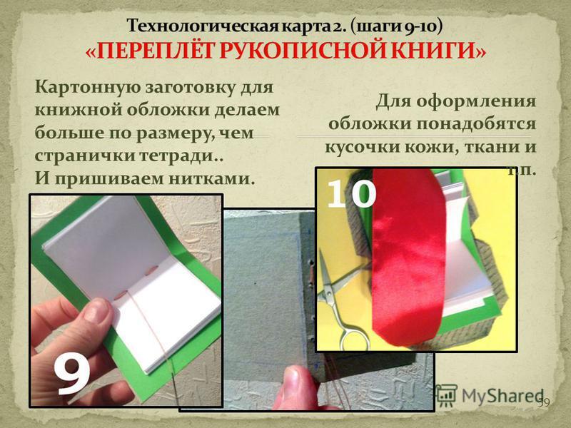 58 Так выглядит прошитая тетрадка внутри. Сшитые вместе тетрадки – вид сбоку. Начинаем шить, оставляя узелок снаружи,…затем, делаем стежок внутри тетрадки, потом выводим нить наружу и проводим во вторую тетрадь…