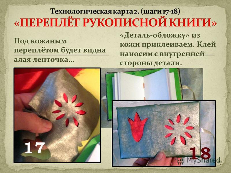 62 Вот как, например, может выглядеть деталь – обложка вырезанная из кожи. «оборотная сторона» … «Лицевая сторона.»