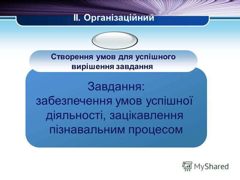 LOGO ІІ. Організаційний Завдання: забезпечення умов успішної діяльності, зацікавлення пізнавальним процесом Створення умов для успішного вирішення завдання