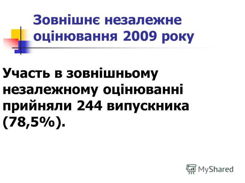 Зовнішнє незалежне оцінювання 2009 року Участь в зовнішньому незалежному оцінюванні прийняли 244 випускника (78,5%).