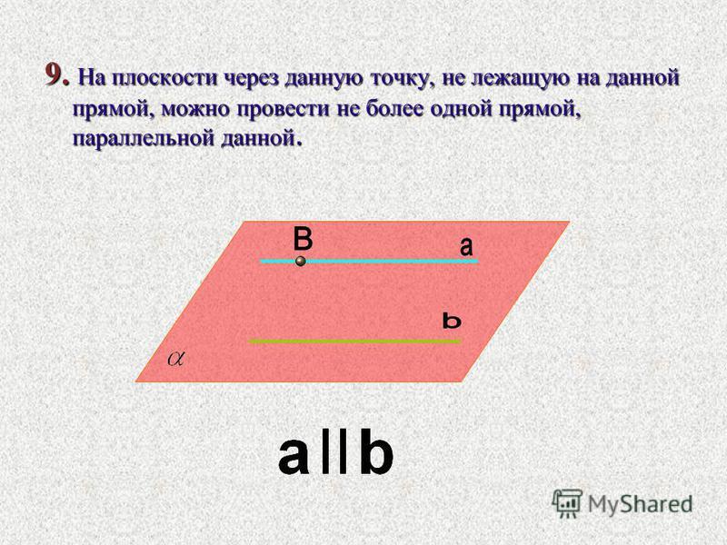 9. На плоскости через данную точку, не лежащую на данной прямой, можно провести не более одной прямой, параллельной данной.