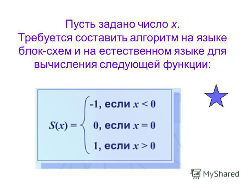 Пусть задано число x. Требуется составить алгоритм на языке блок-схем и на естественном языке для вычисления следующей функции: