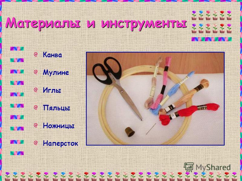 Материалы и инструменты Канва Мулине Иглы Пяльцы Ножницы Наперсток