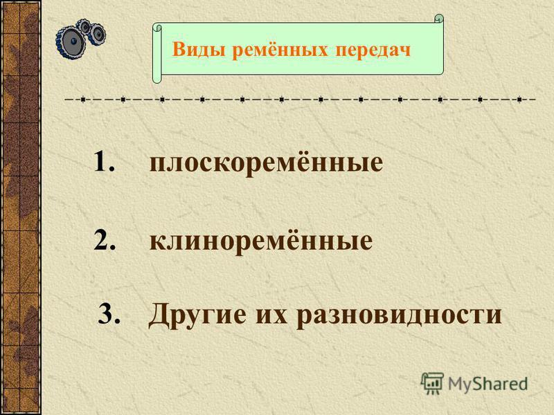 Состав ремённой передачи Ведущий шкив Ведомый шкив
