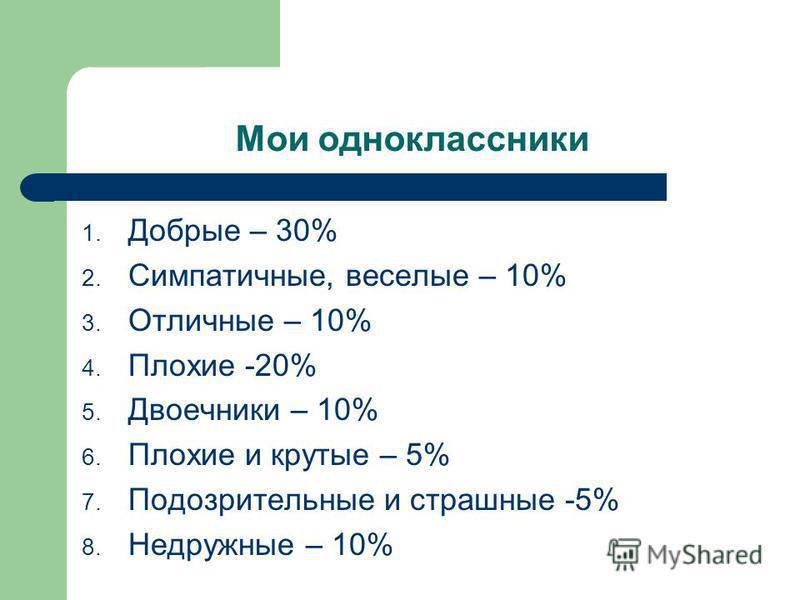 Мои одноклассники 1. Добрые – 30% 2. Симпатичные, веселые – 10% 3. Отличные – 10% 4. Плохие -20% 5. Двоечники – 10% 6. Плохие и крутые – 5% 7. Подозрительные и страшные -5% 8. Недружные – 10%