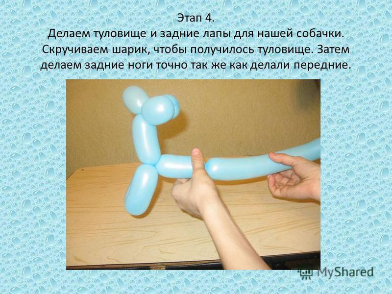 Этап 4. Делаем туловище и задние лапы для нашей собачки. Скручиваем шарик, чтобы получилось туловище. Затем делаем задние ноги точно так же как делали передние.