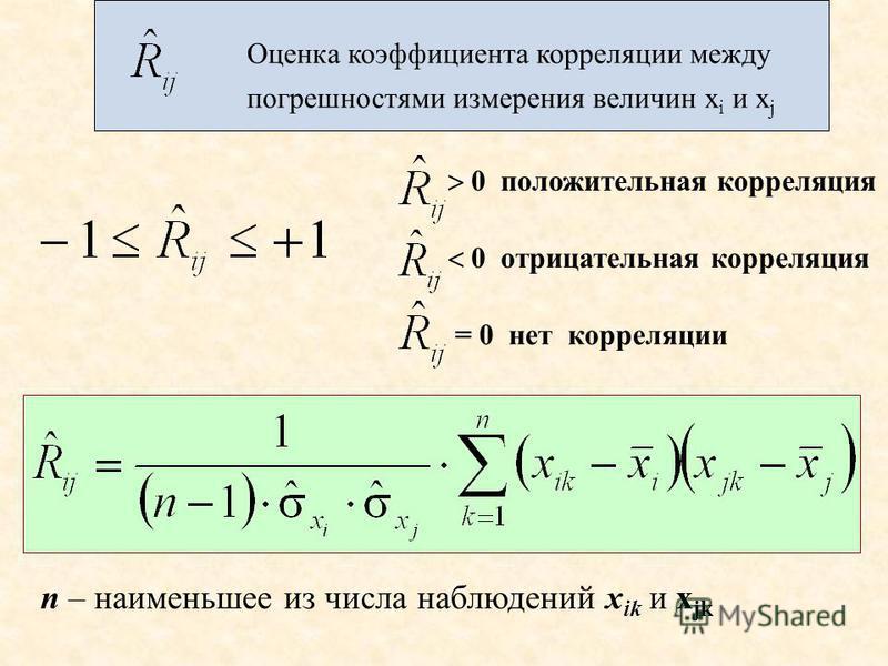 Оценка коэффициента корреляции между погрешностями измерения величин x i и x j 0 положительная корреляция 0 отрицательная корреляция = 0 нет корреляции n – наименьшее из числа наблюдений x ik и x jk