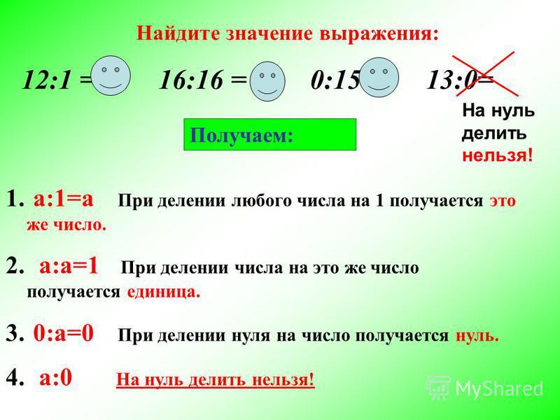 Найдите значение выражения: 12:1 = 12 16:16 = 1 0:15=0 13:0= На нуль делить нельзя! Получаем: 1. а:1=а При делении любого числа на 1 получается это же число. 2. а:а=1 При делении числа на это же число получается единица. 3. 0:а=0 При делении нуля на