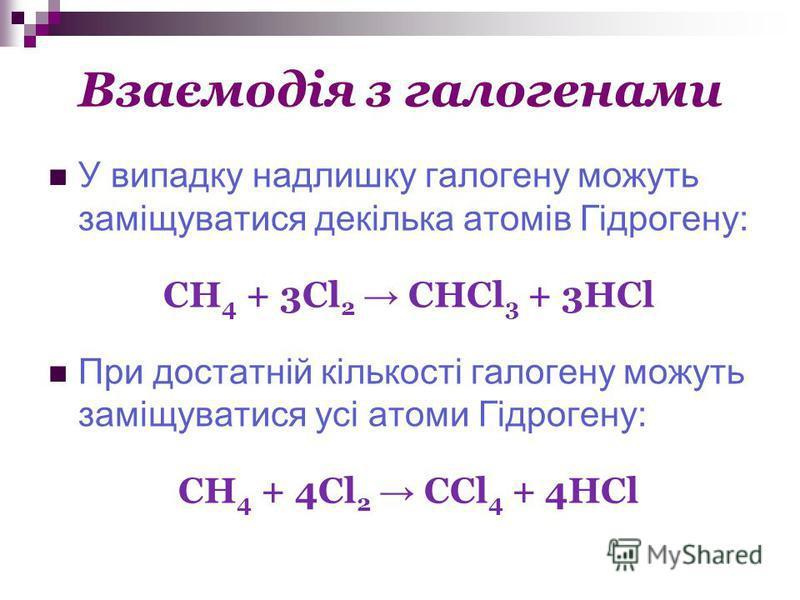 Взаємодія з галогенами У випадку надлишку галогену можуть заміщуватися декілька атомів Гідрогену: СН 4 + 3Cl 2 CHCl 3 + 3HCl При достатній кількості галогену можуть заміщуватися усі атоми Гідрогену: CH 4 + 4Cl 2 CCl 4 + 4HCl