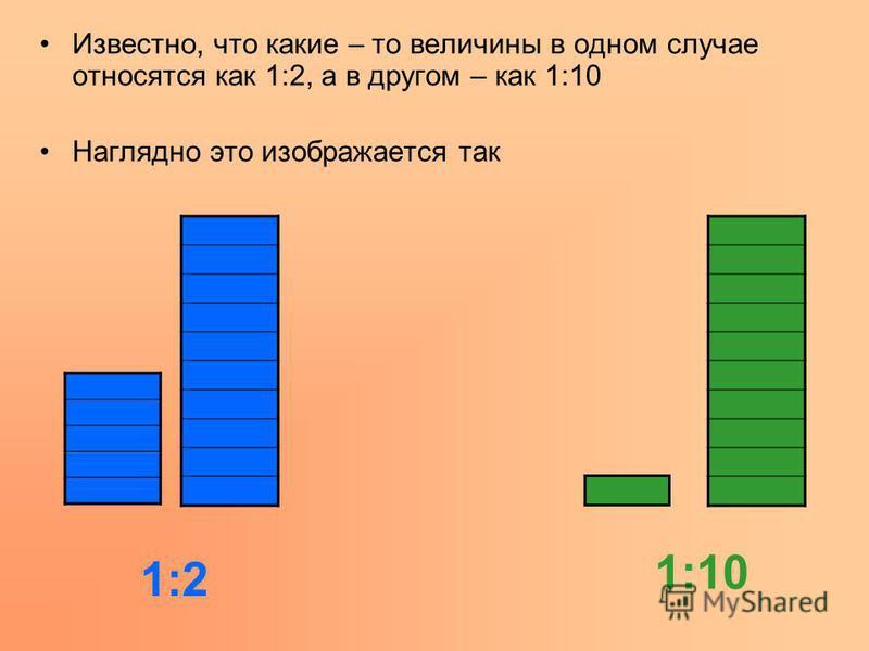 Известно, что какие – то величины в одном случае относятся как 1:2, а в другом – как 1:10 Наглядно это изображается так 1:2 1:10