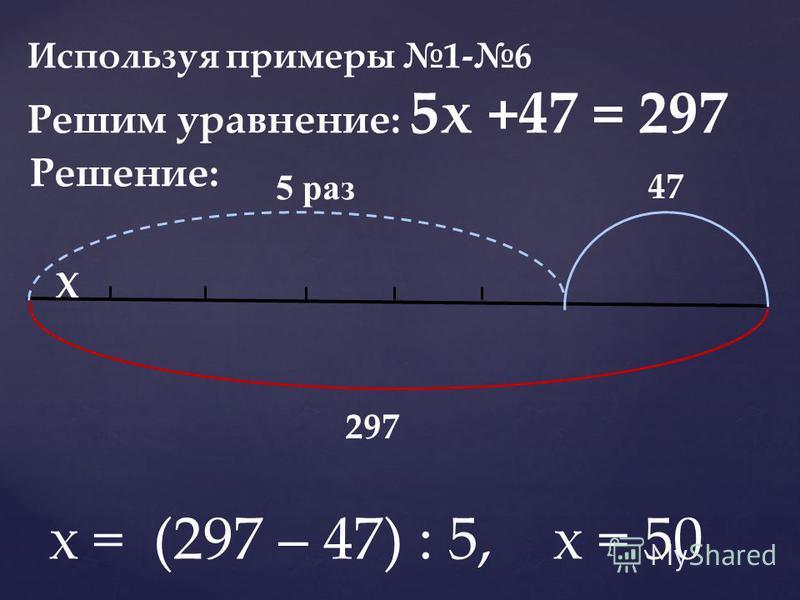 Используя примеры 1-6 Решим уравнение: 5 х +47 = 297 Решение: 5 раз Х 47 297 х = (297 – 47) : 5, х = 50