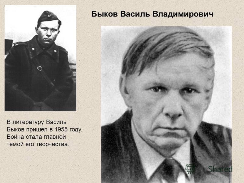 Быков Василь Владимирович В литературу Василь Быков пришел в 1955 году. Война стала главной темой его творчества.