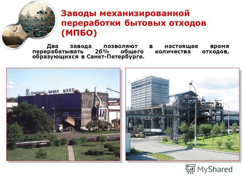 Заводы механизированной переработки бытовых отходов (МПБО) Два завода позволяют в настоящее время перерабатывать 26% общего количества отходов, образующихся в Санкт-Петербурге.