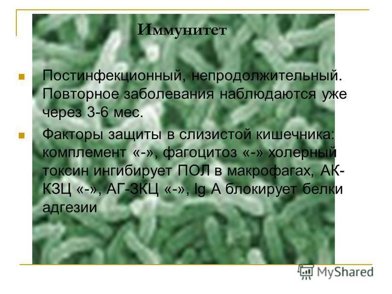 Иммунитет Постинфекционный, непродолжительный. Повторное заболевания наблюдаются уже через 3-6 мес. Факторы защиты в слизистой кишечника: комплемент «-», фагоцитоз «-» холерный токсин ингибирует ПОЛ в макрофагах, АК- КЗЦ «-», АГ-ЗКЦ «-», Ig A блокиру