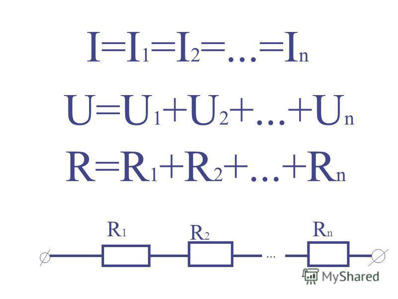 I=I 1 =I 2 =...=I n U=U 1 +U 2 +...+U n R=R 1 +R 2 +...+R n... R1R1 R2R2 RnRn