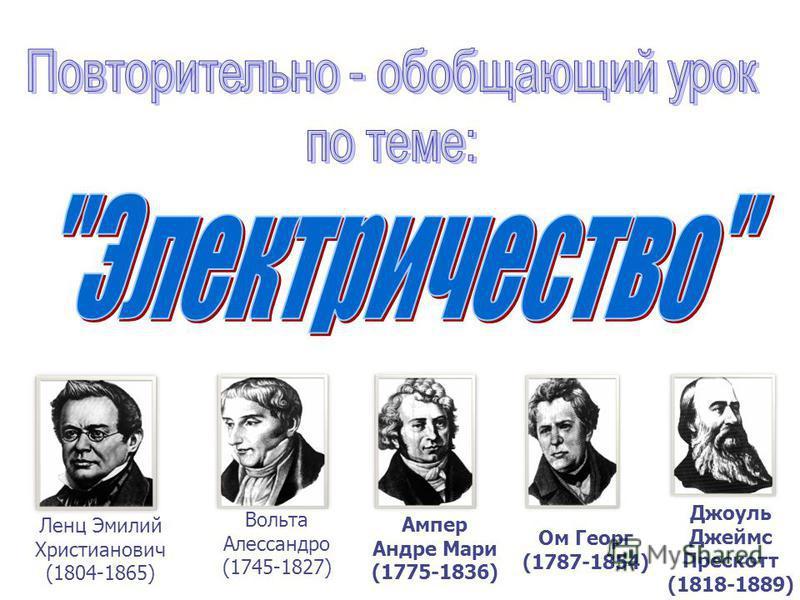 Ленц Эмилий Христианович (1804-1865) Вольта Алессандро (1745-1827) Ампер Андре Мари (1775-1836) Ом Георг (1787-1854) Джоуль Джеймс Прескотт (1818-1889)