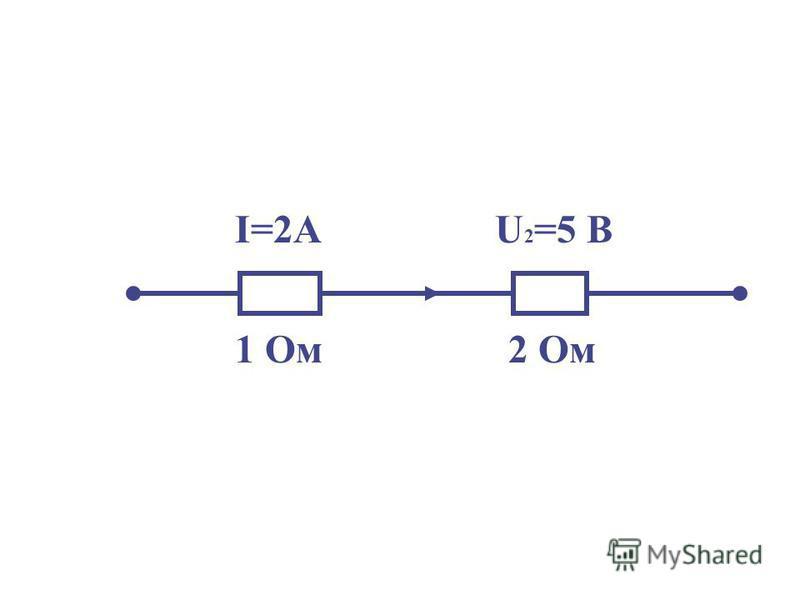 I=2АU 2 =5 B 1 Oм 2 Ом