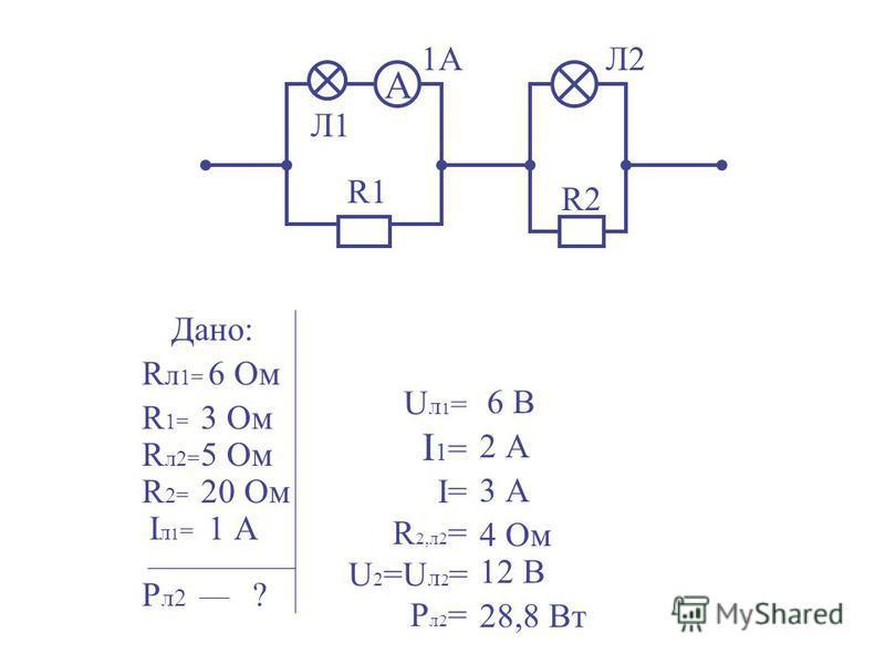 Дано: R л 1= R л 2= R1=R1= R2=R2= Iл 1=Iл 1= P л 2 ? 6 Ом 5 Ом 3 Ом 20 Ом 1 А U л 1 = I 1 = I= R 2,л 2 = U 2 =U л 2 = P л 2 = А Л1 Л2 R1 R2 1А 6 В 2 А 3 А 4 Ом 12 В 28,8 Вт